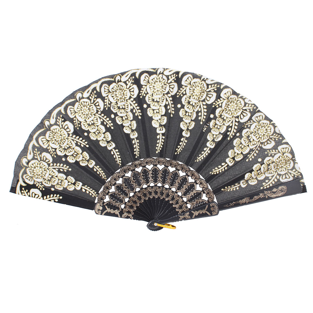 Black Embossed Frame Glittery Decor Folding Hand Fan w Metal Ring