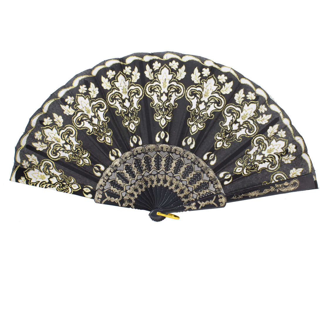 White Gold Tone Flowers Detail Black Nylon Section Foldable Hand Fan w Ring