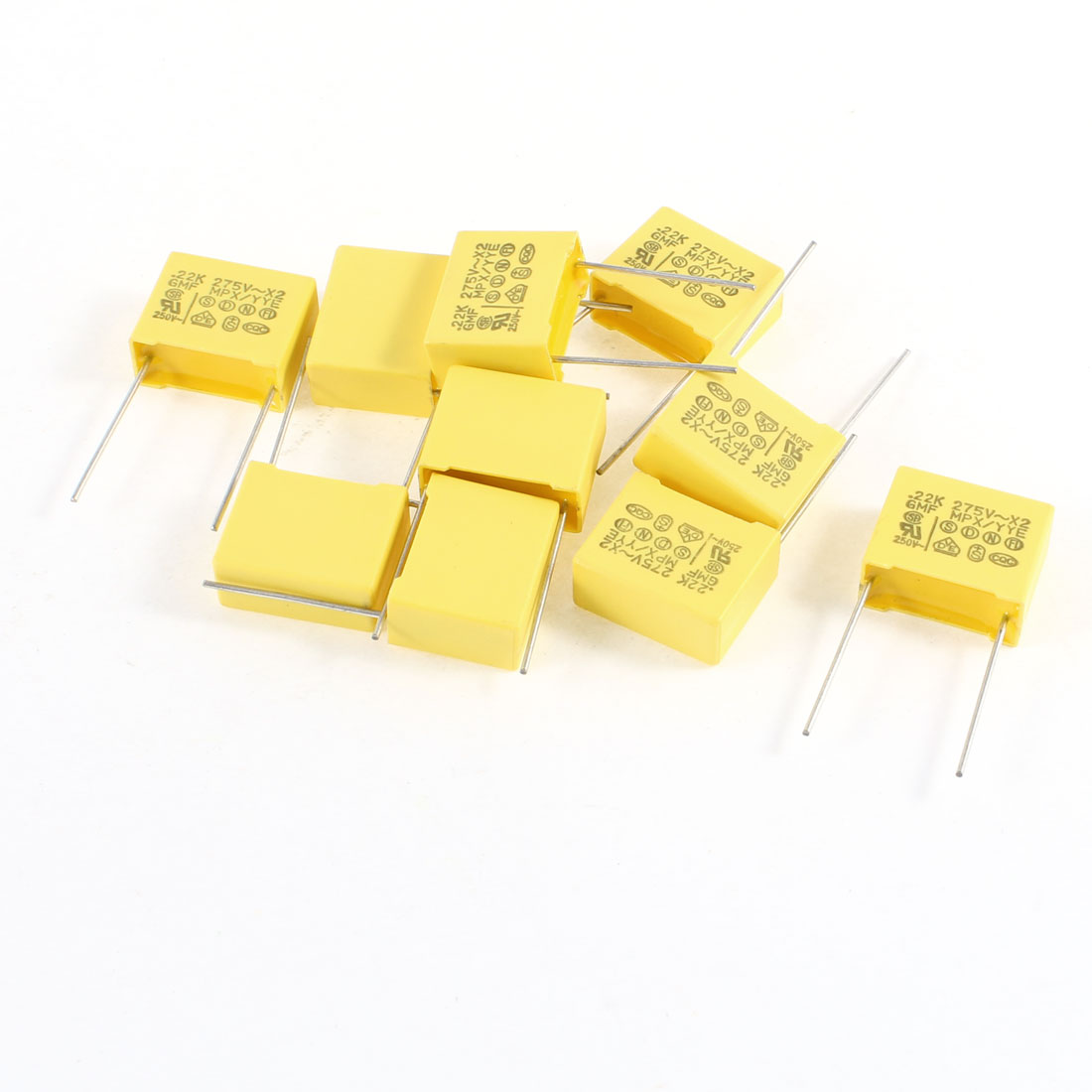 10PCS 275V 0.22uF 10% 2 Terminals Lead Rectangle Polyester Film Capacitor Yellow