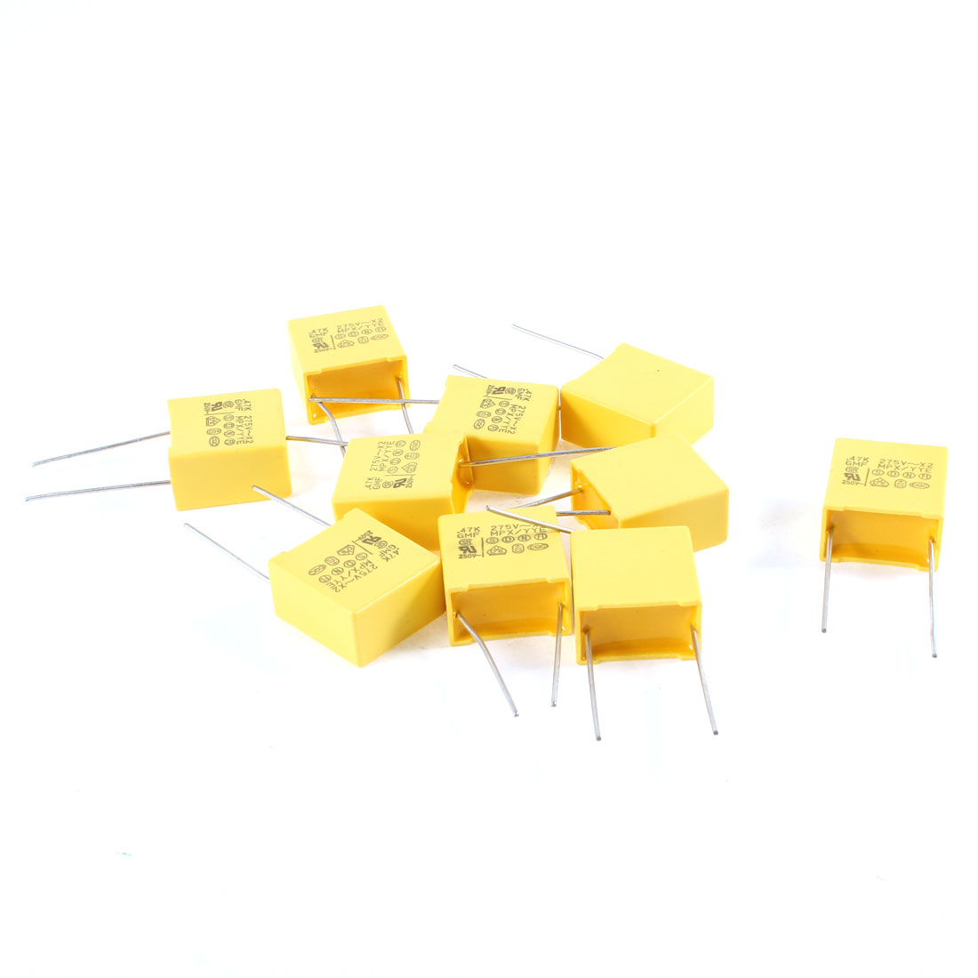 Yellow Rectangle Mylar Polyester Film Capacitors 0.47uF 275V 10% 10 Pcs
