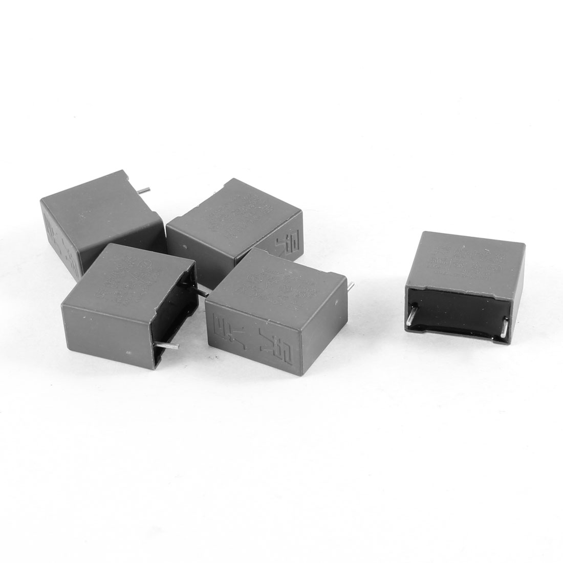 5 Pcs Gray Rectangle Mylar Polyester Film Capacitors 275V 0.68uF 10% Tolerance