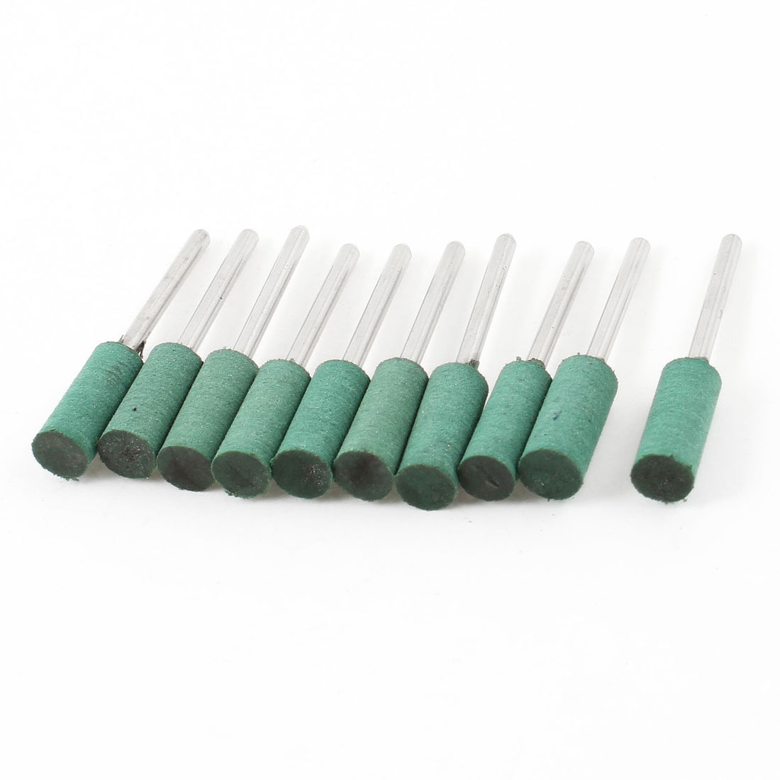 10 Pcs Cylinder Abrasive Polishing Mounted Point Green 8mm x 18mm x 3mm