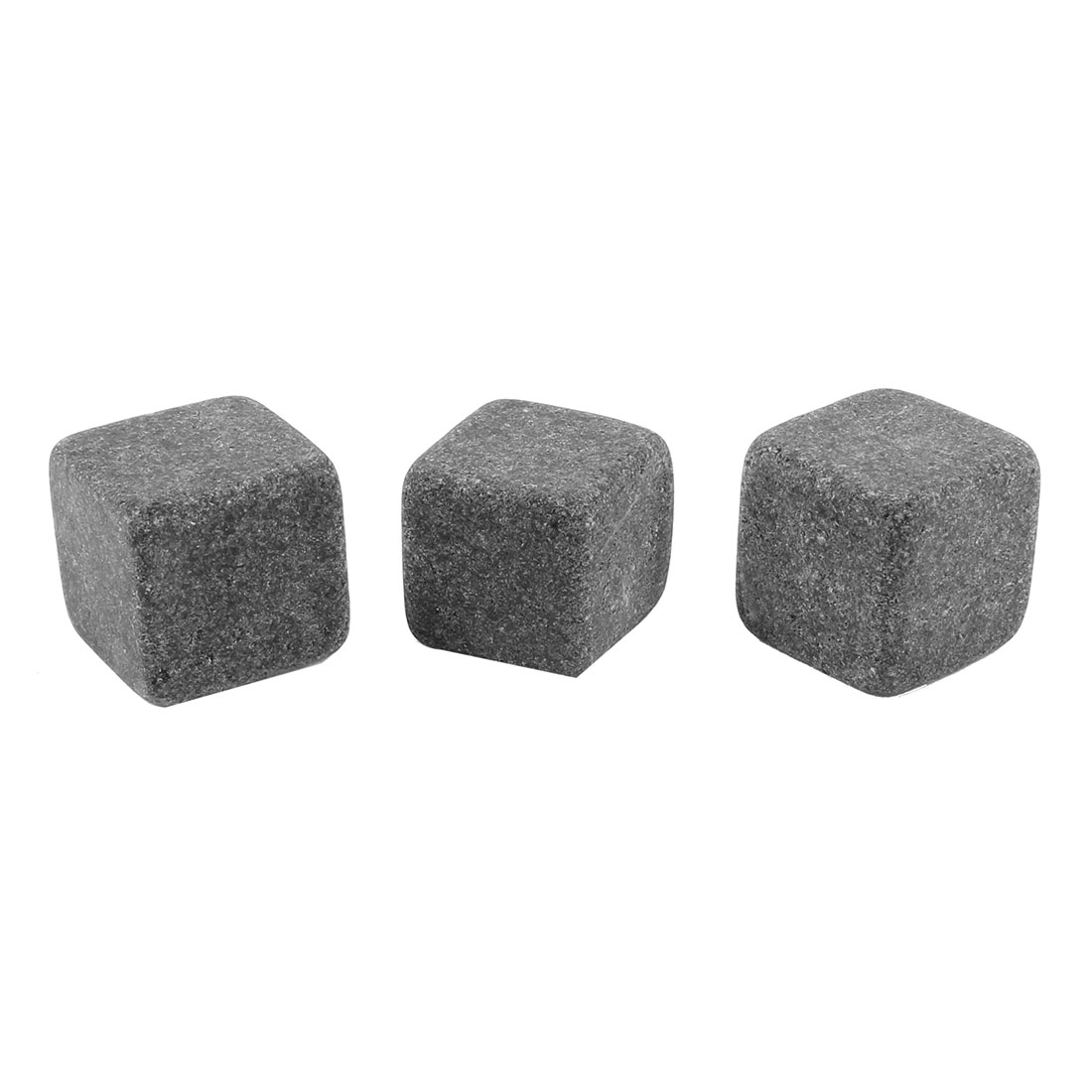 3 Pcs Dark Gray Ceramic Whisky Stones Ice Cube 20mmx20mmx20mm w Drawstring Bag