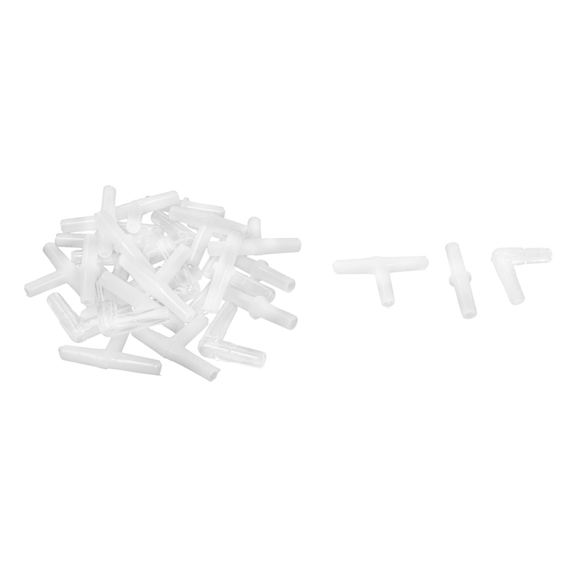 30 Pcs Clear White Plastic Air Tubing Connector Hose for Aquarium Fish Tank