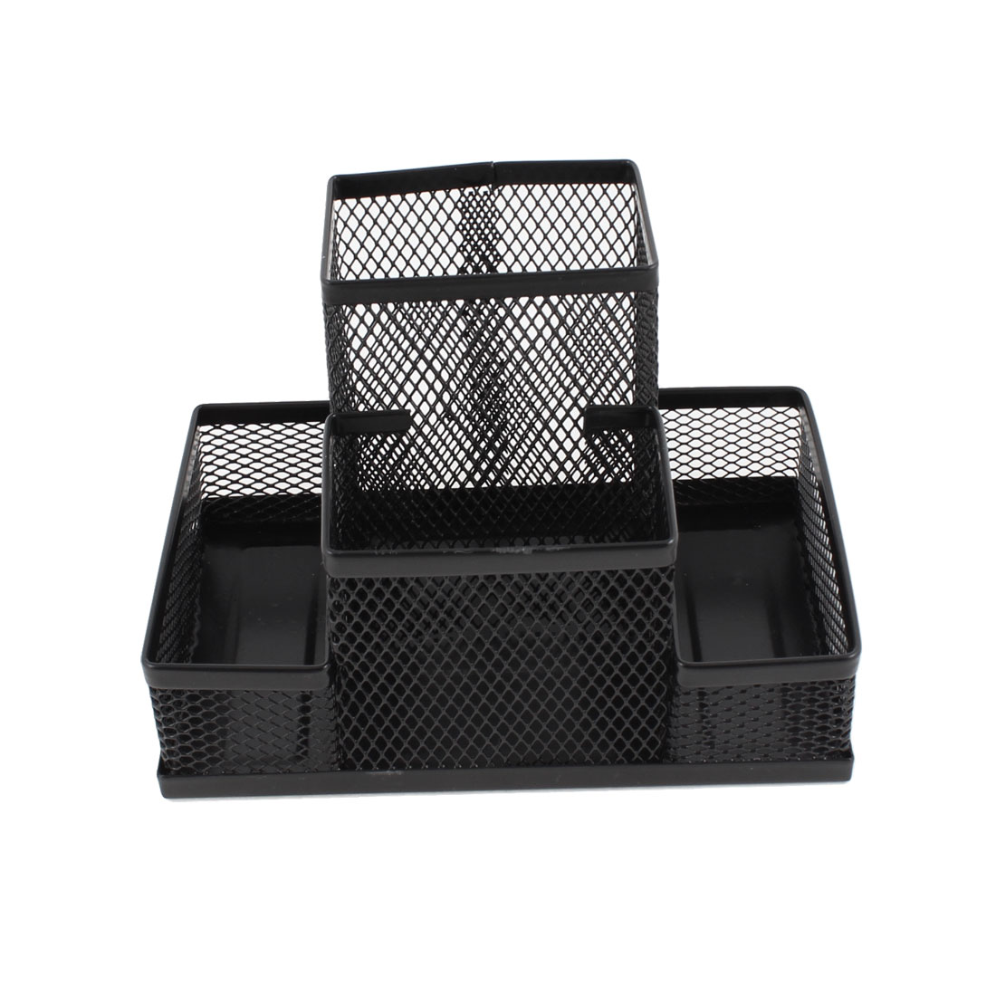 Black Desktop Decoration 4 Compartments Mesh Pencil Holder for Students