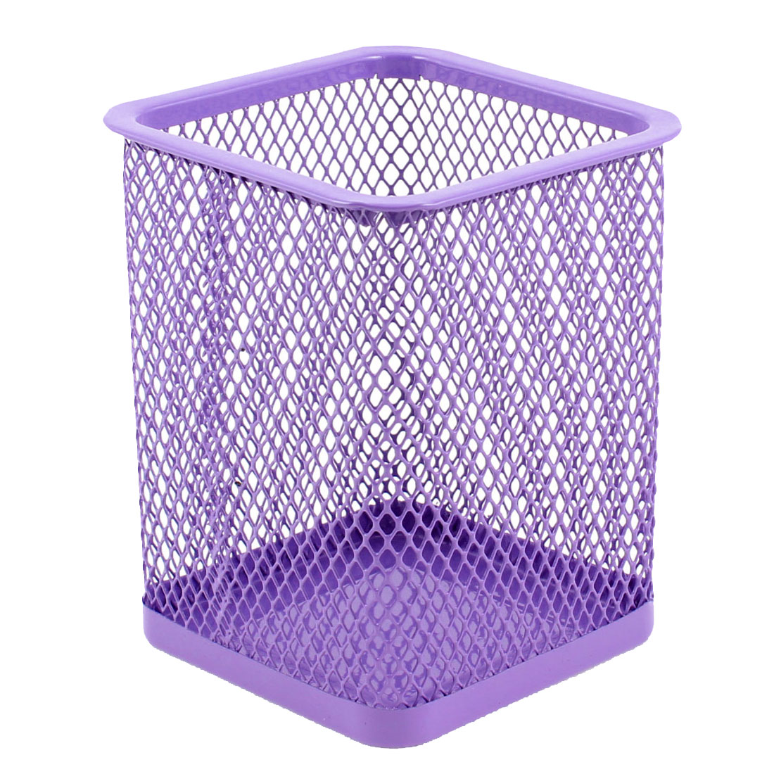 Metallic Mesh Rectangle Shaped Stationery Holder Box Container Purple