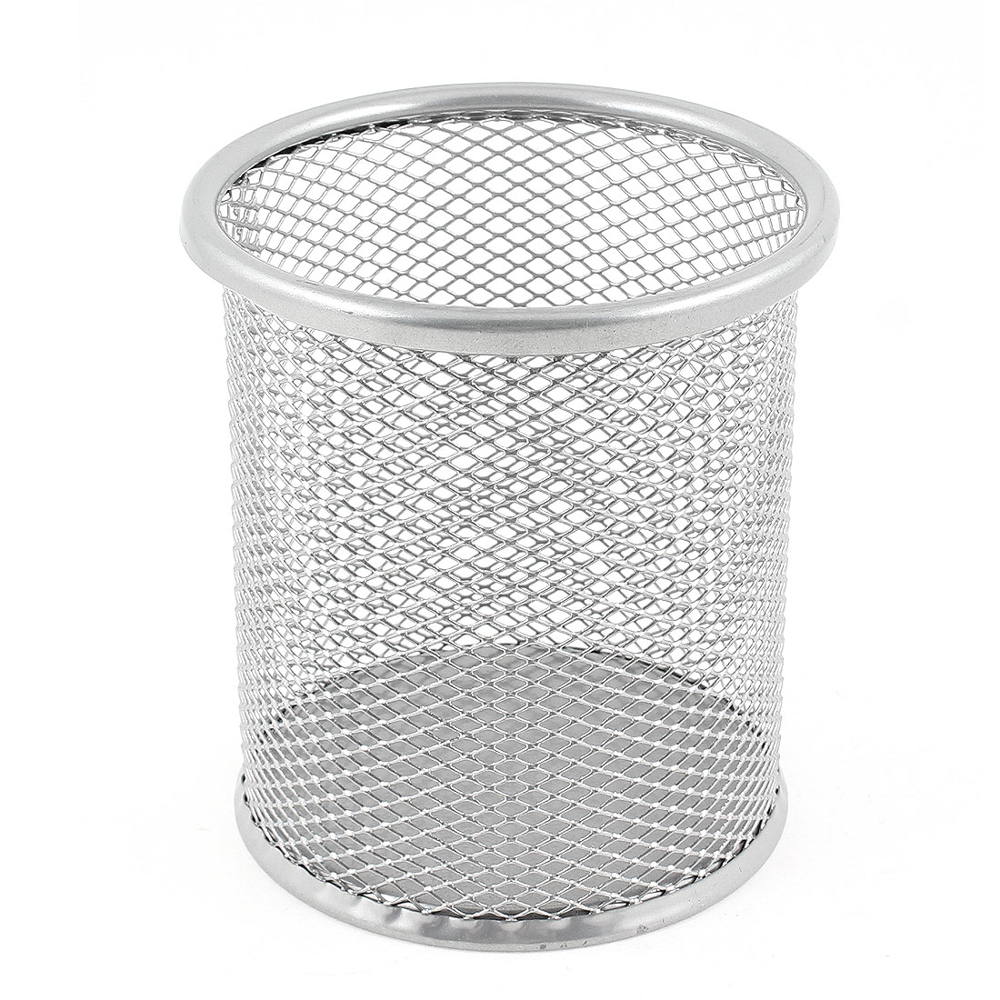 Silver Gray Metal Mesh Cylinder Shaped Pen Pencil Holder Container