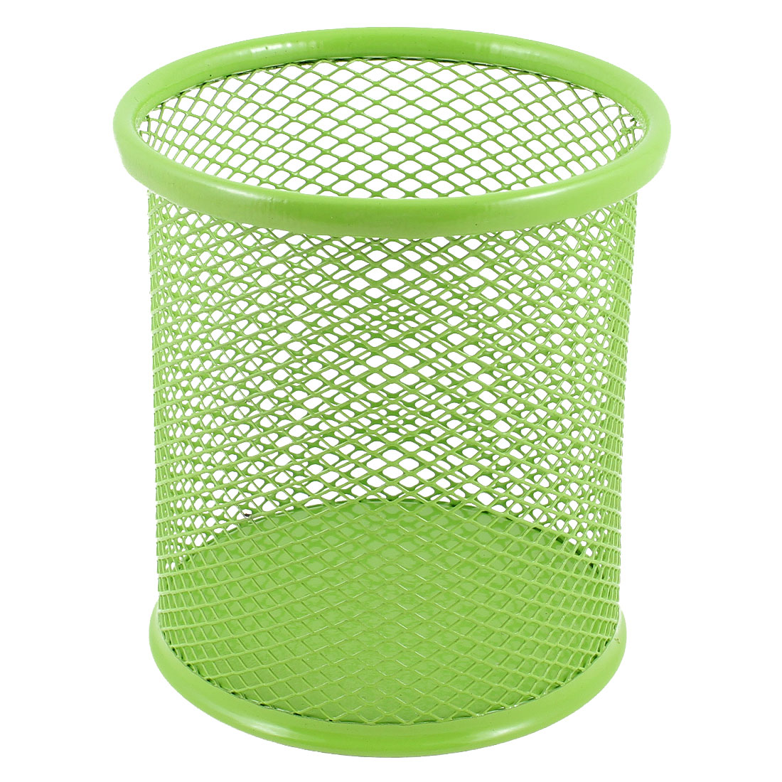 Metal Mesh Cylinder Pen Pencil Eraser Stationery Holder Container Green