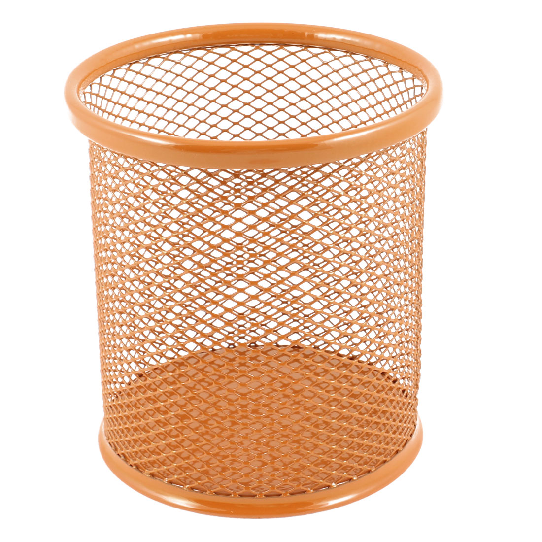 Metallic Mesh Cylinder Shaped Stationery Holder Box Container Orange