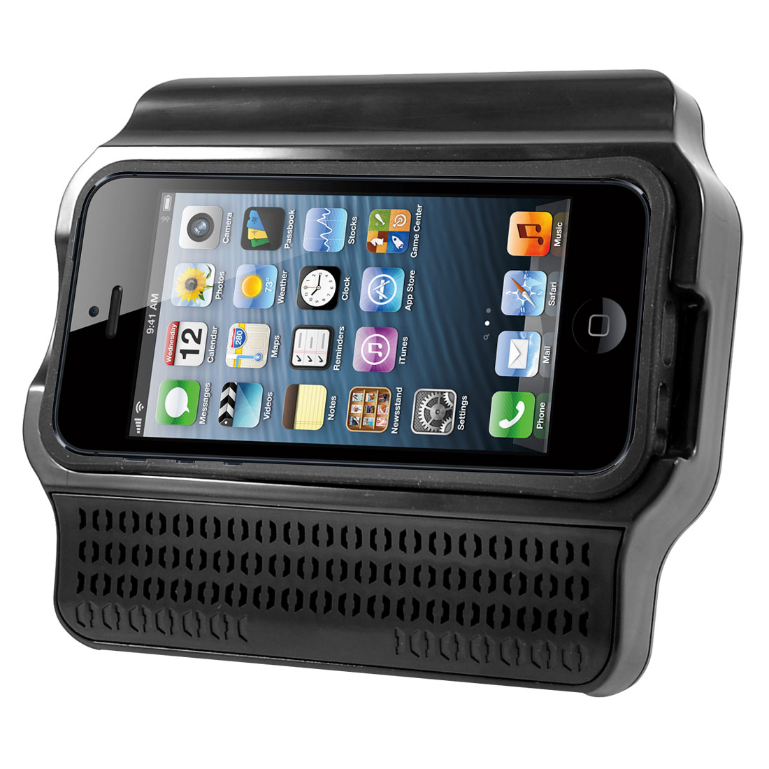 Plastic Stand Amplifier Holder Silicone Case Cover Black for iPhone 5 5th