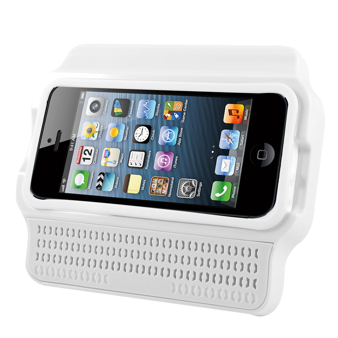 Silicone Cover White Plastic Stand Amplifier Holder for iPhone 5 5G 5th