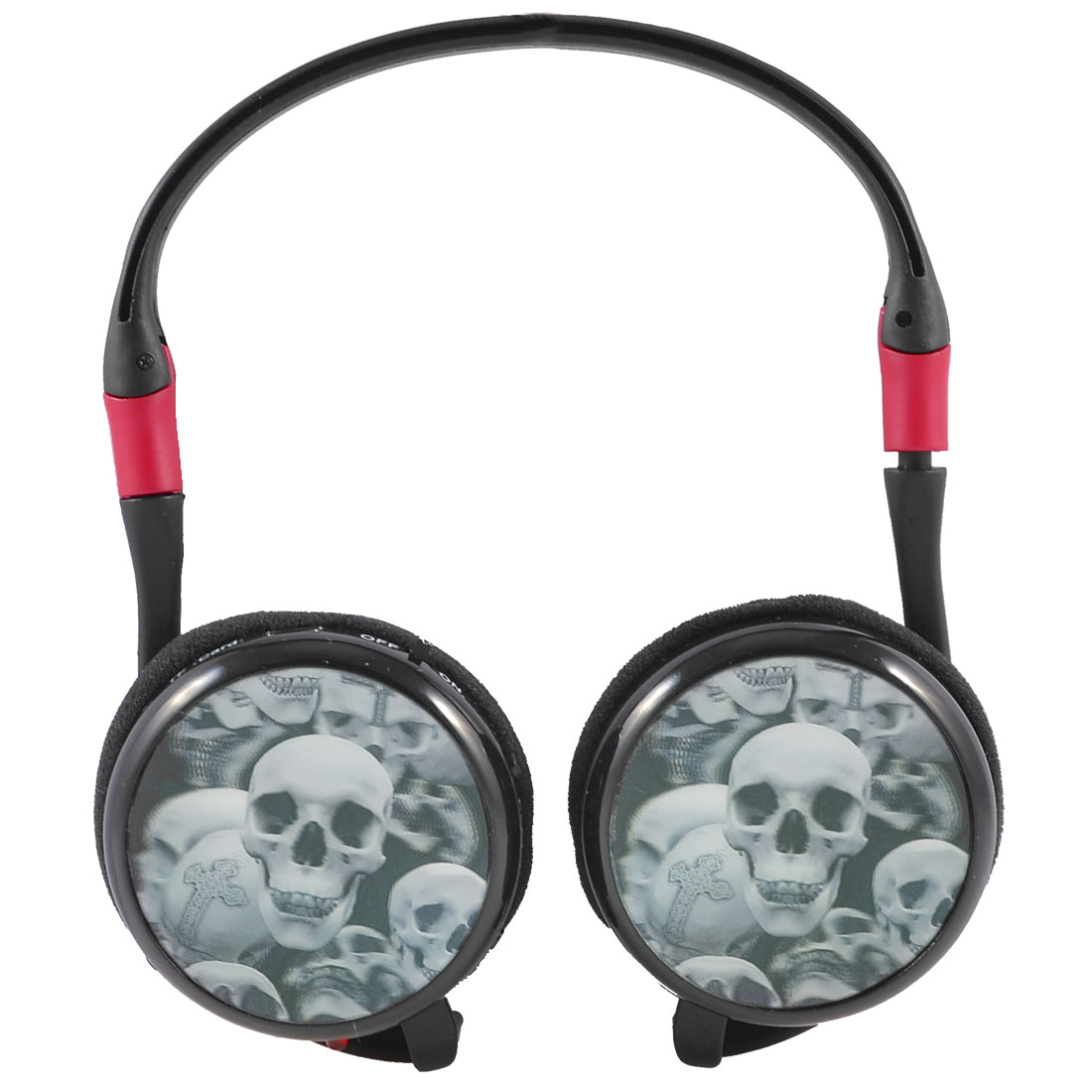 3D Skull Pattern TF Card MP3 Player FM Radio Stereo Headset Headphone Black Red