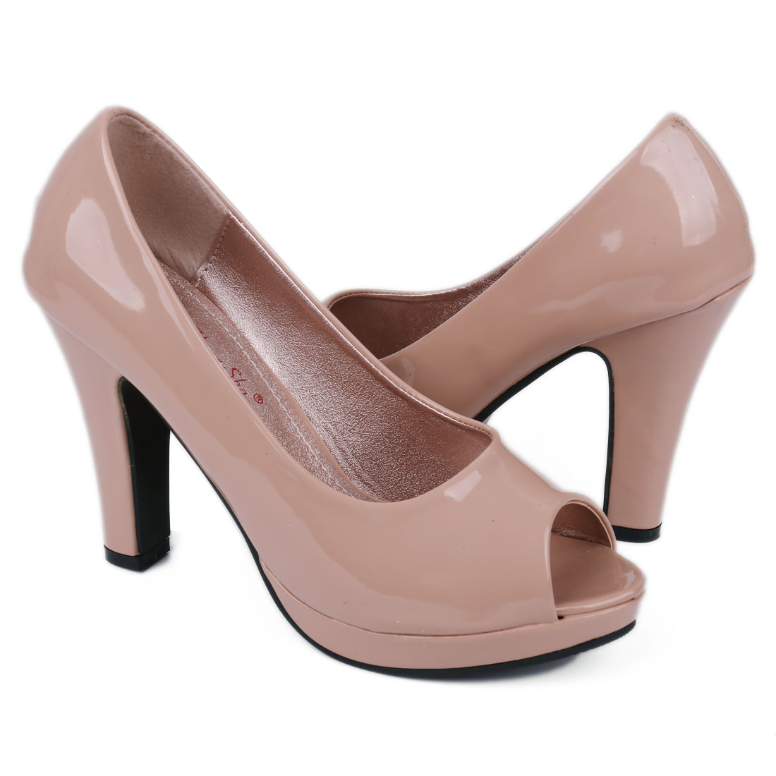 Ladies Open Toe High Heel Patent Upper Platform Pumps US 7