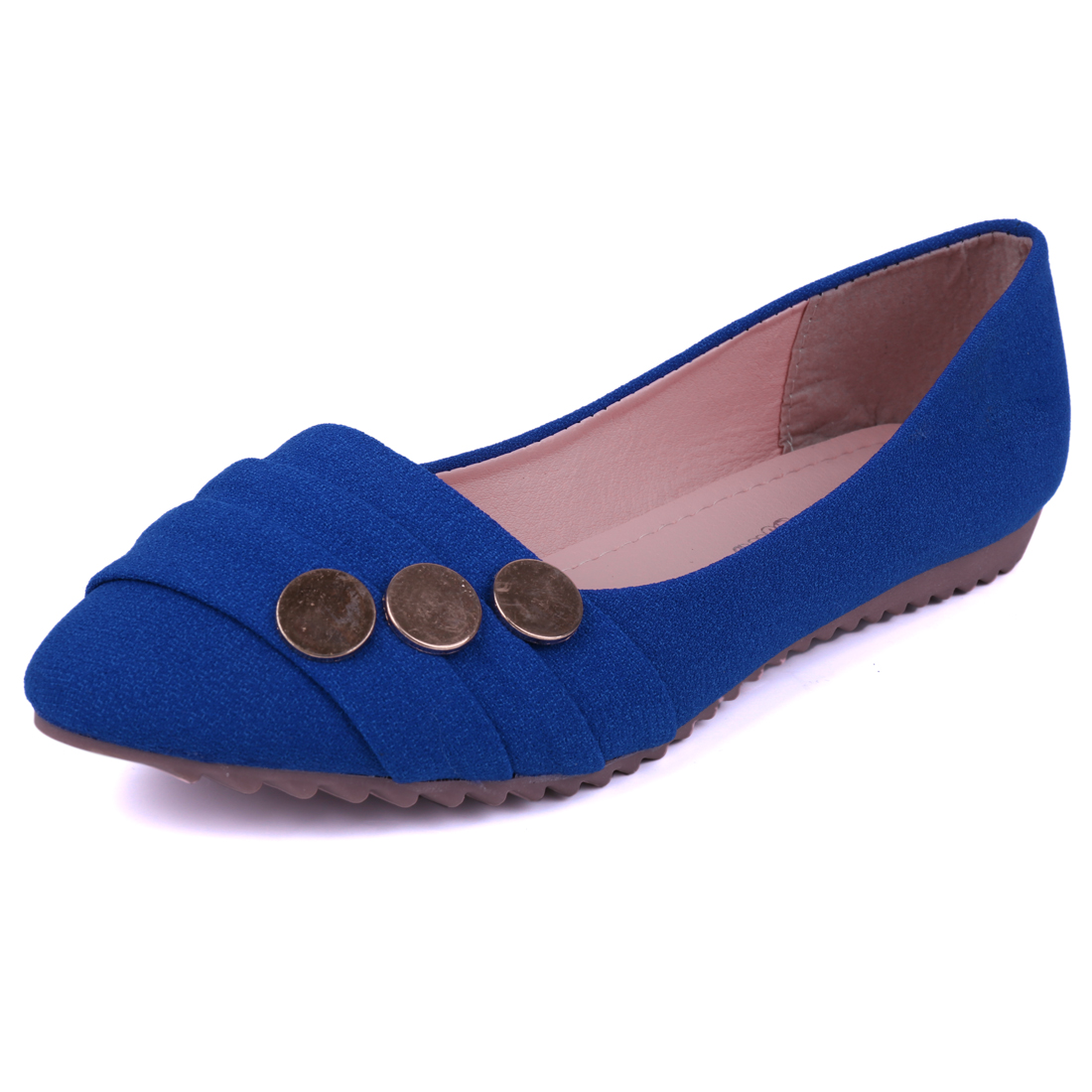 Ladies Ruched Upper Smooth Insole Stylish Flat Shoes Royal Blue US 8