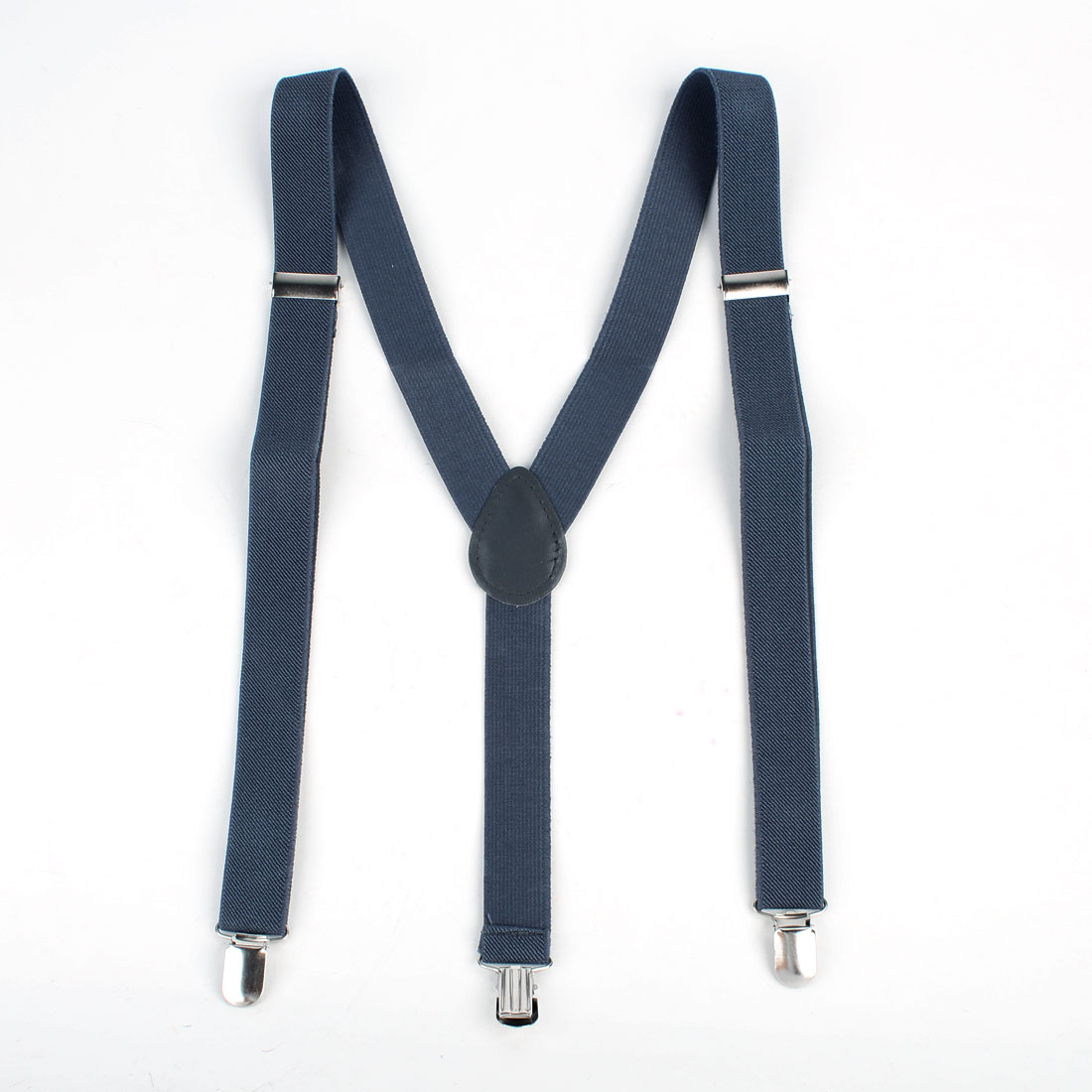Women Man Adjustable Clamps Y Shaped Elastic Suspender Braces Steel Blue