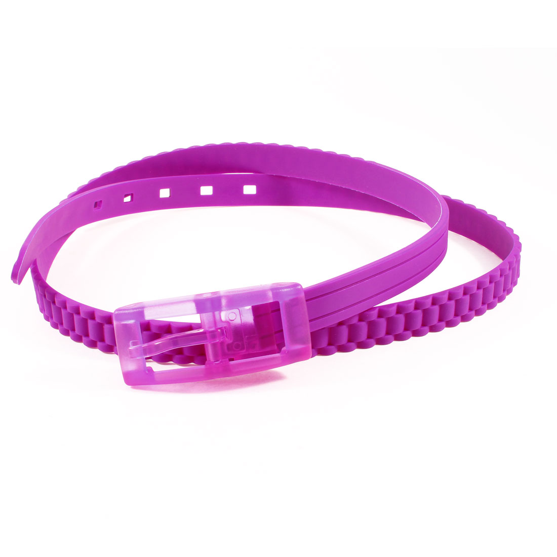 Ladies Single Prong Buckle Textured Band Soft Plastic Skinny Waist Belt Amaranth