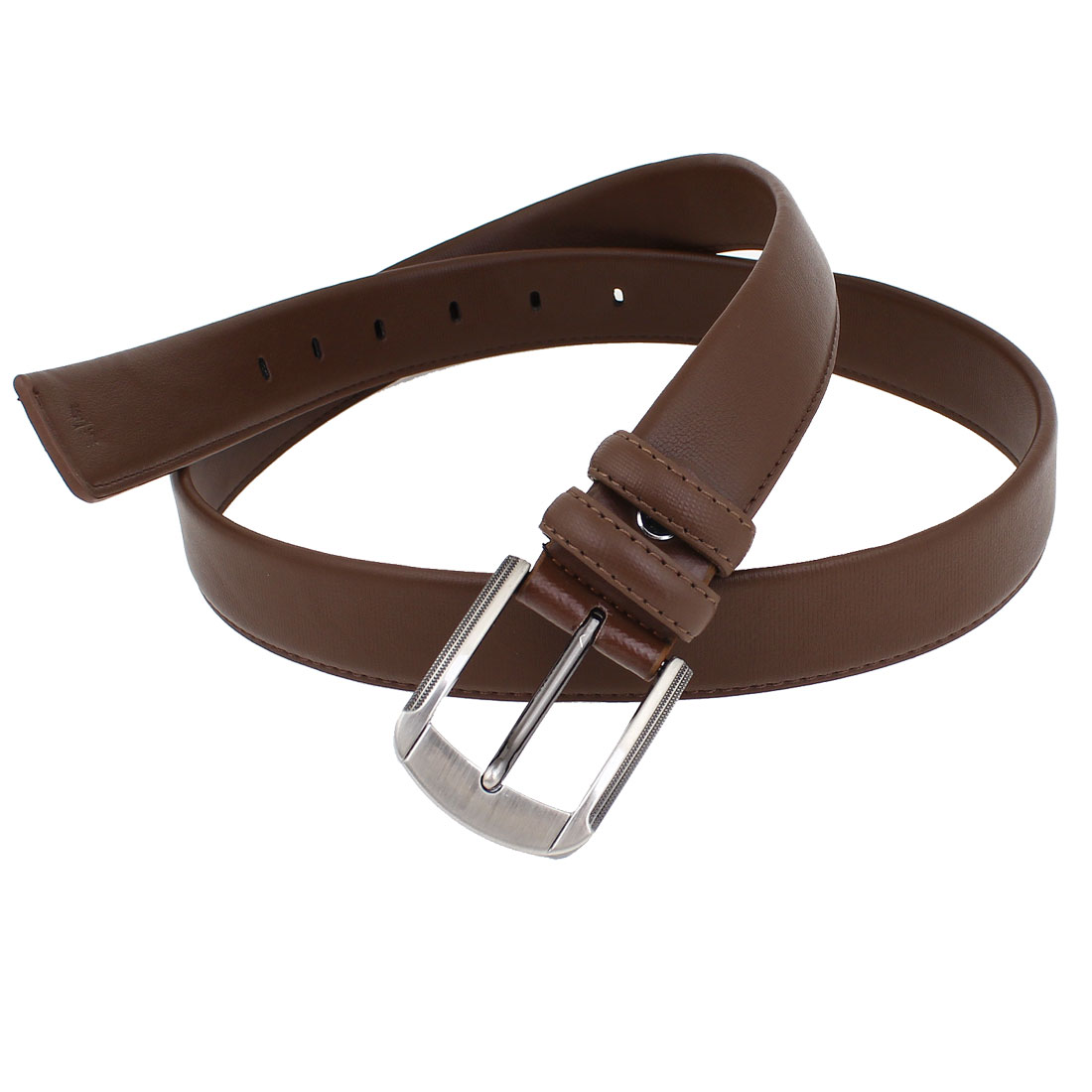 Brown Faux Leather 6 Holes Adjustable Waist Belt 3.5cm Width for Man
