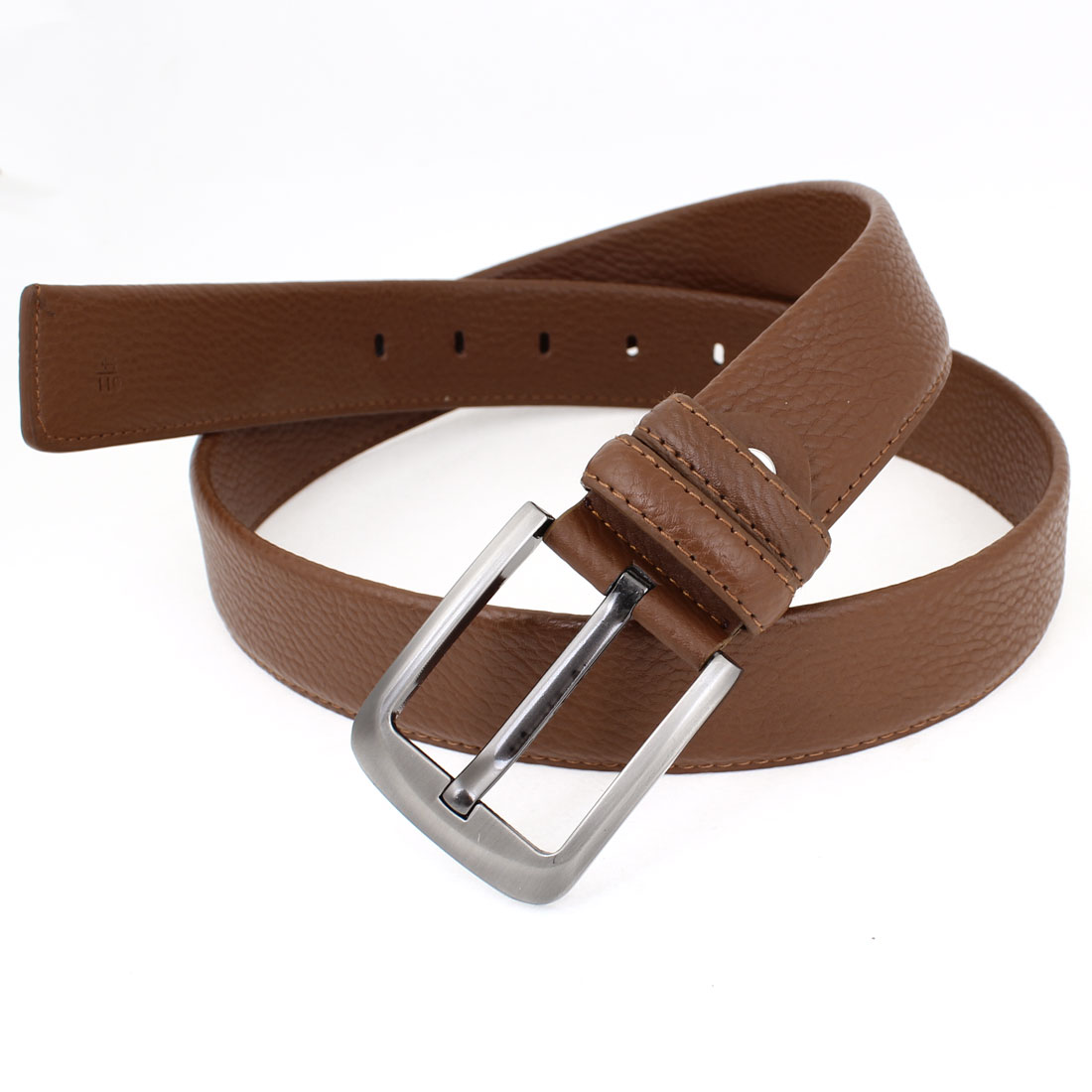 Brown Faux Leather Litchi Pattern Adjustable Waist Belt for Men
