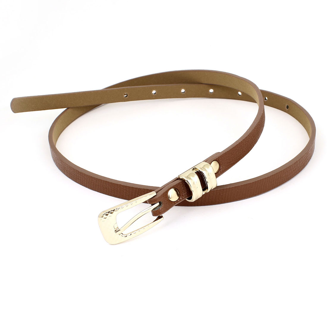 Women Prong Pin Buckle Brown Faux Leather Textured Band 1.2cm Width Waist Belt