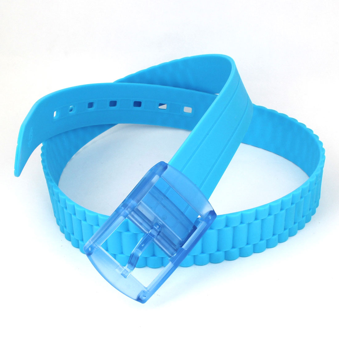 Candy Color Jelly Plastic Rectangle Buckle 3.8cm Width Blue Fragrant Waist Belt
