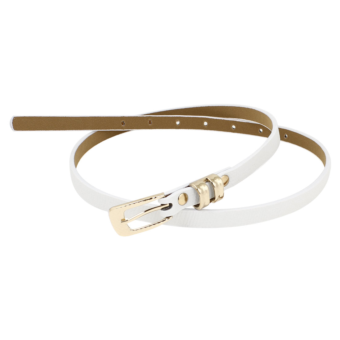 Ladies Gold Tone Pin Buckle White Faux Leather Thin Waistband Belt 1.2cm Wide