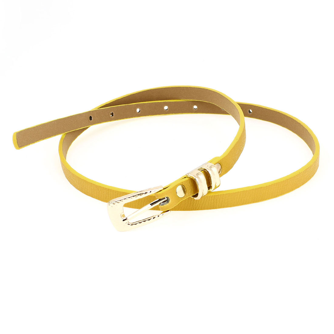 Women Prong Pin Buckle Faux Leather Waistband Cinch Belt Ornament Yellow