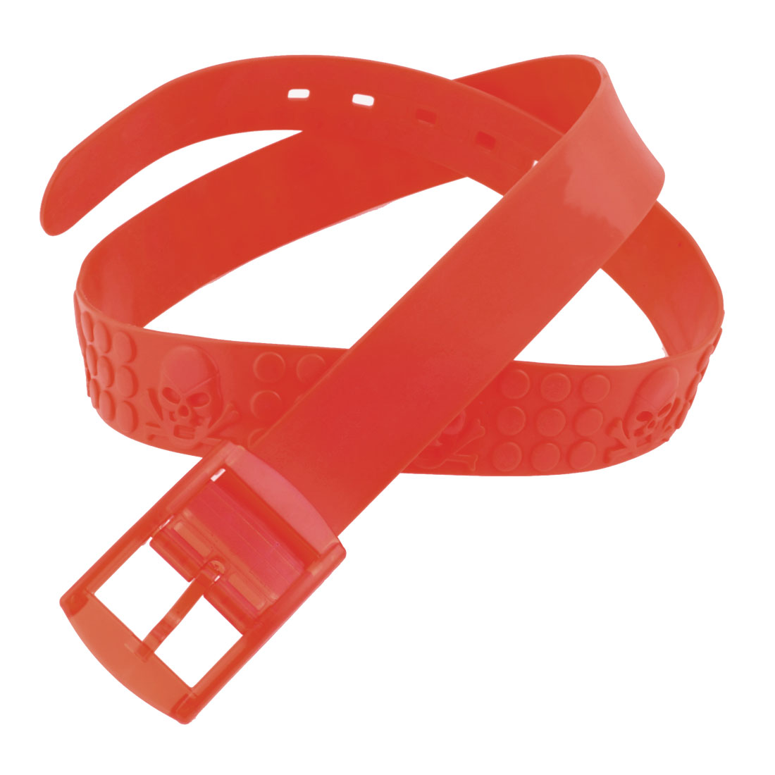 Plastic Rectangle Buckle 3.8cm Width Dots Print Sweet Smell Band Waist Belt Red