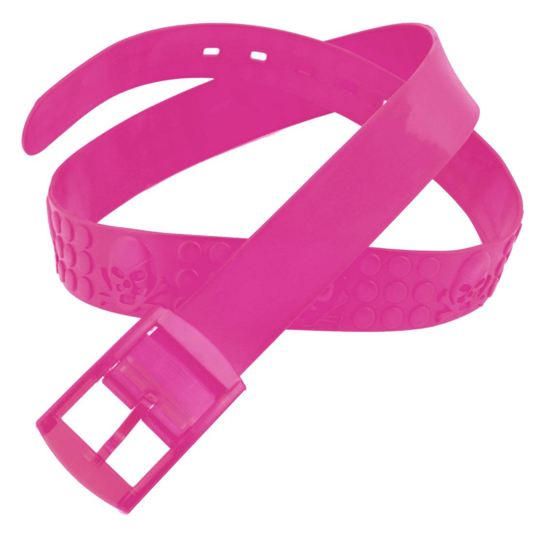 Silicone Adjustable 5 Hole Band Jelly Fragrant Waist Belt Fuchsia for Women