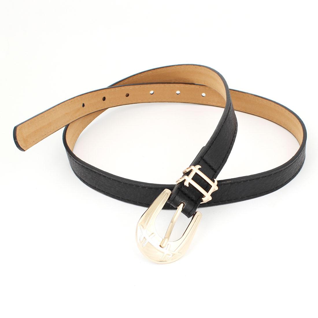Black Faux Leather One Prong Buckle Adjustable Slender Waist Belt for Women