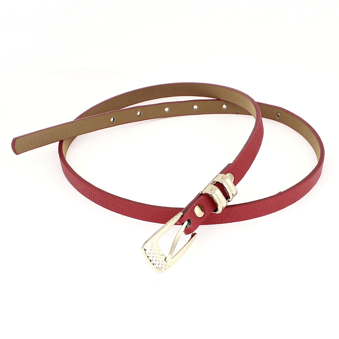Lady Prong Pin Buckle Red Faux Leather Textured Band 1.2cm Width Thin Waist Belt