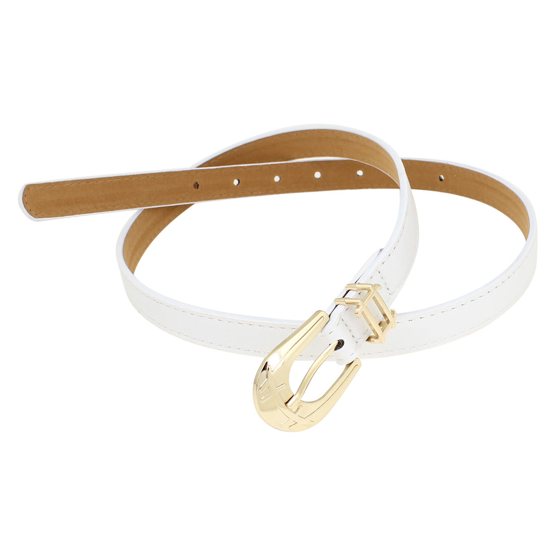 One Pin Buckle White Faux Leather Adjustable Slender Waist Belt for Women