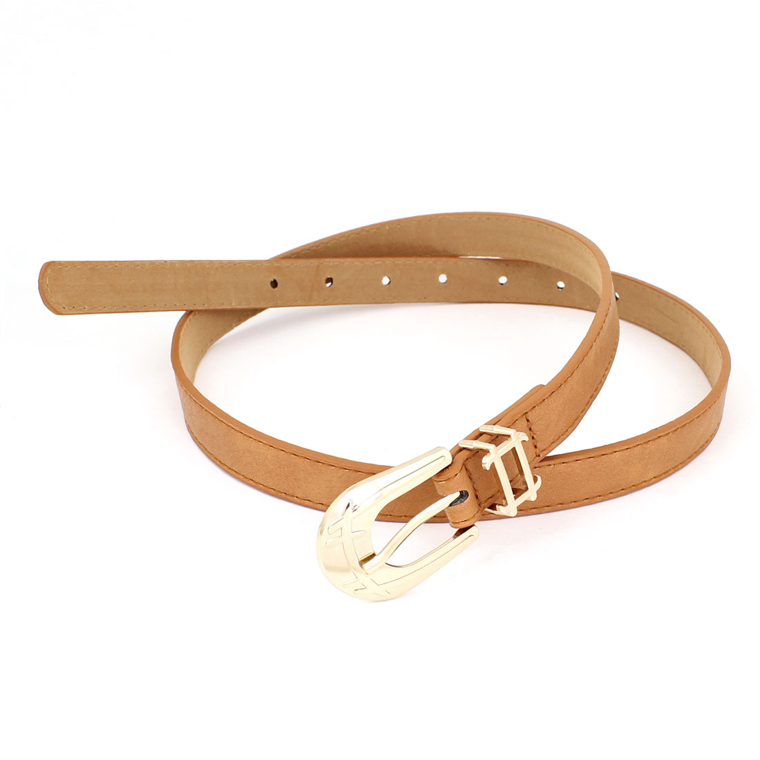 Ladies Single Pin Buckle 7 Hole Faux Leather Adjustable Thin Waist Belt Brown