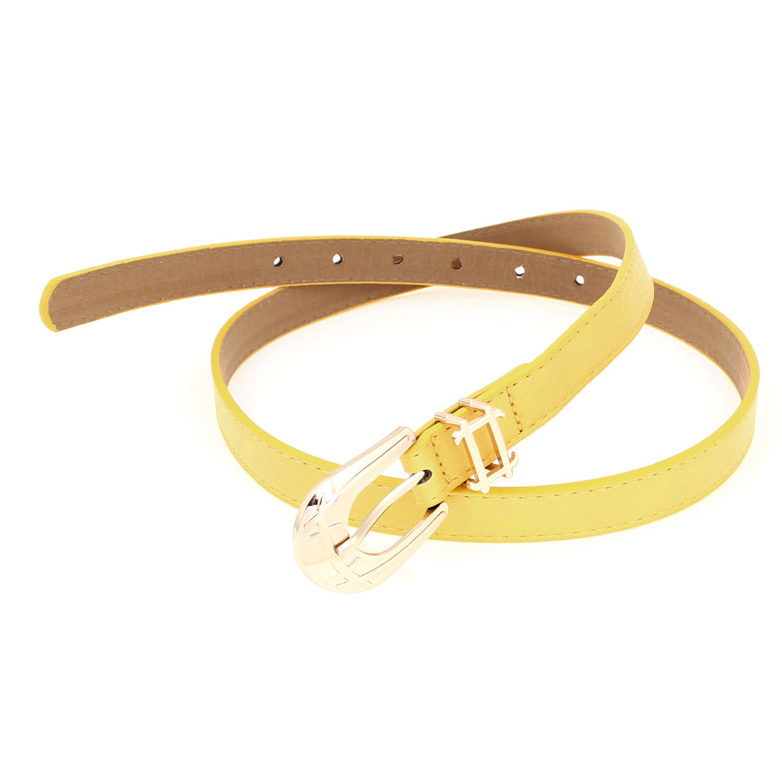 Single Prong Buckle Yellow Faux Leather Adjustable Thin Waist Belt for Women