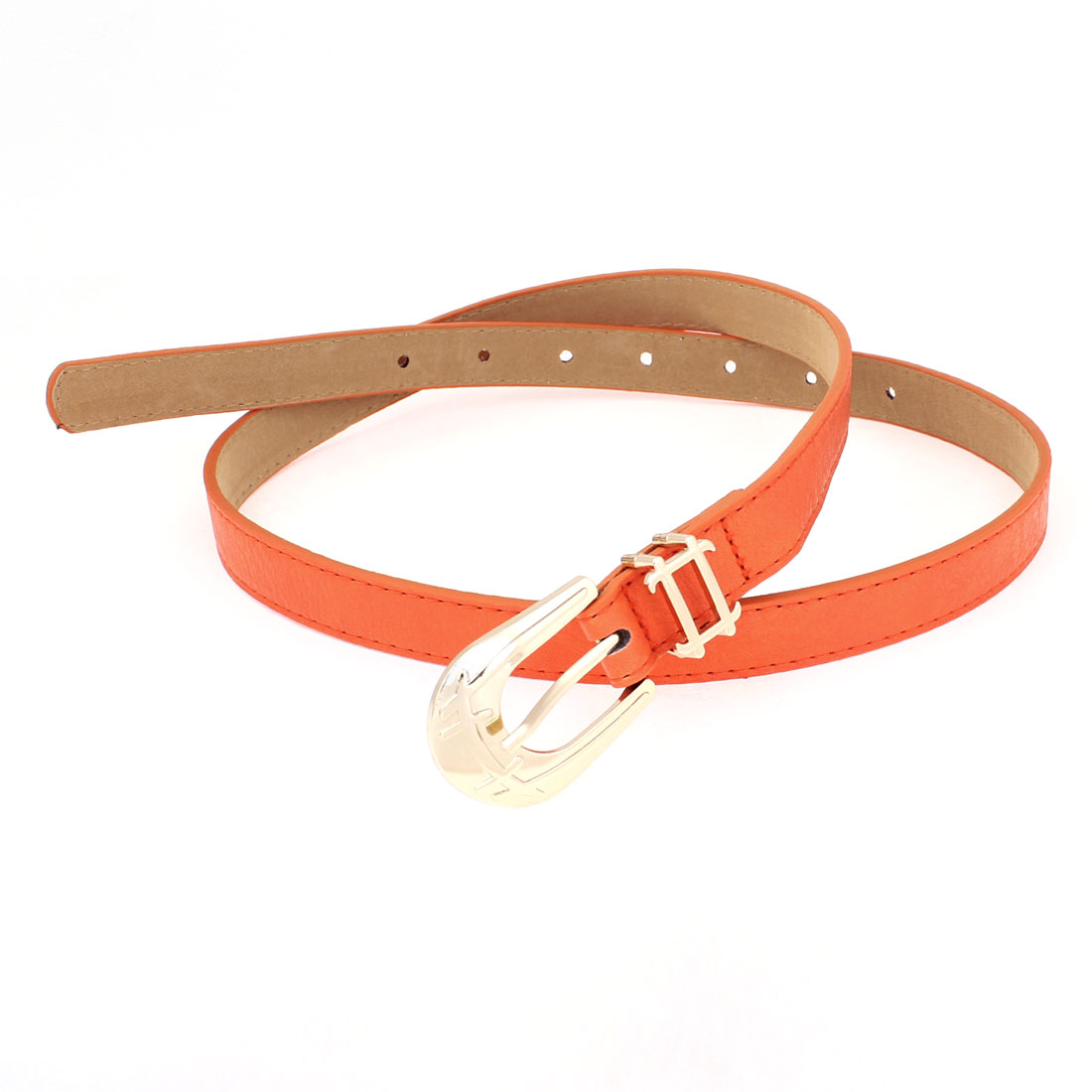 Ladies Single Pin Buckle Orange Faux Leather Adjustable Slender Waist Belt