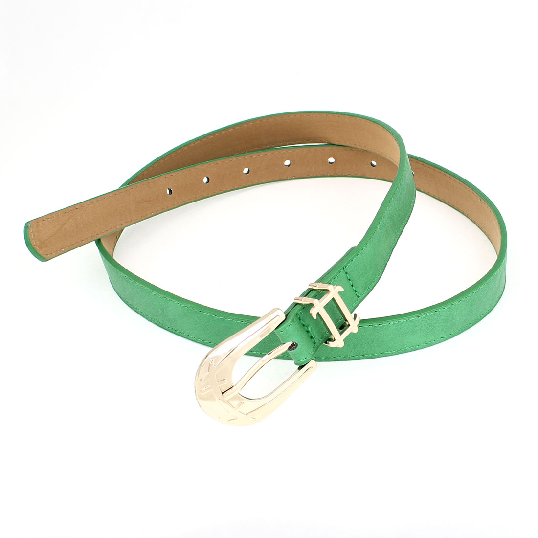 Green Faux Leather 7 Holes One Pin Buckle Adjustable Slim Waistband for Lady