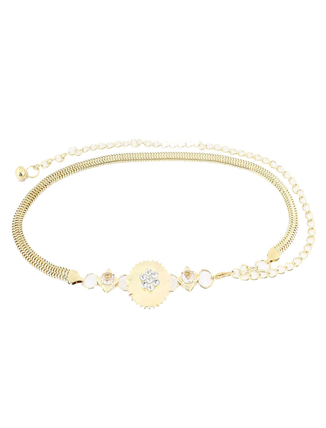 Gold Tone Circle Decor Lobster Clasp Alloy Adjustable Waist Belt for Women