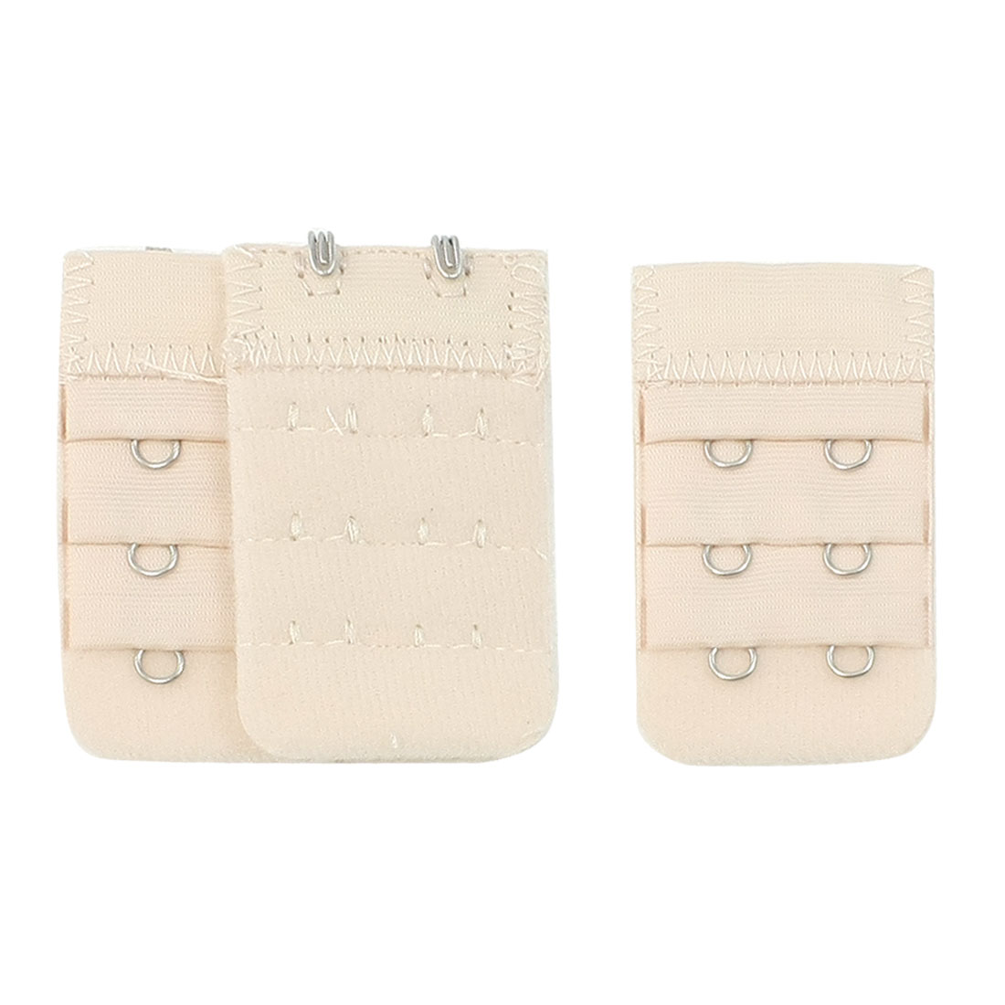 3pcs Women 3 Row 2 Hooks Adjustable Underwear Bra Strap Extender Buckle Hook Khaki Color