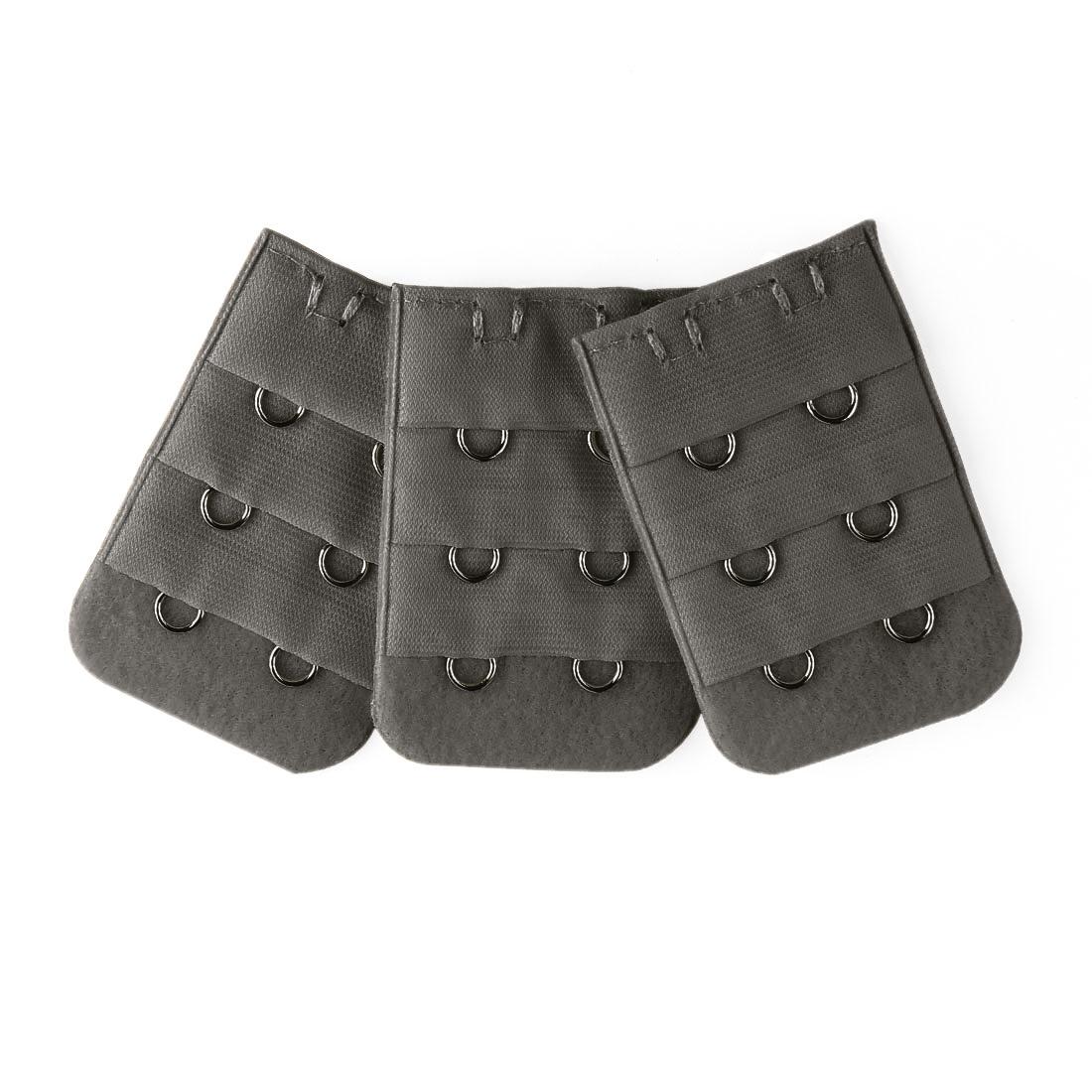 3pcs Women 3 Row 2 Hooks Underwear Bra Strap Extender Buckle Hook Dark Gray