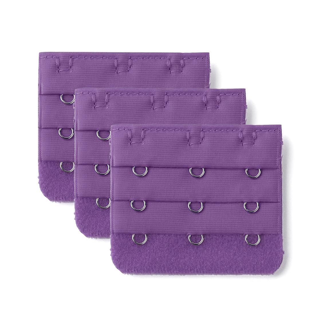 3pcs Purple 3 Rows Hooks Lady Underwear Bra Strap Extender Buckle Hook