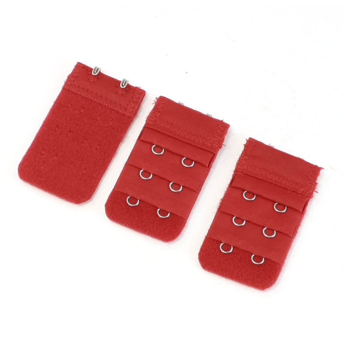 3pcs Lady 3 Row 2 Hook Adjustable Underwear Bra Strap Extension Buckle Hooks Red