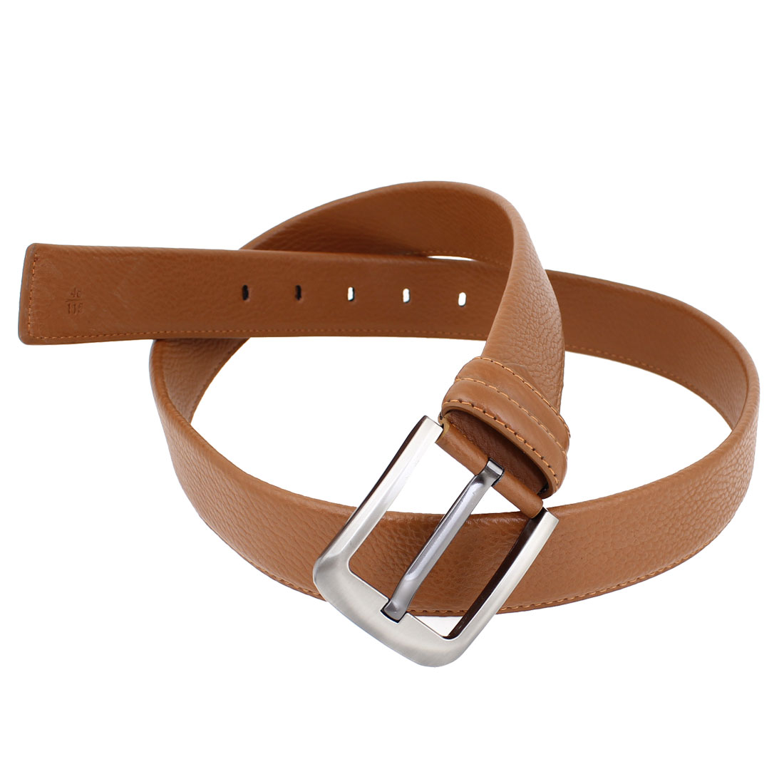 Single Prong Buckle Brown Faux Leather Adjustable Waist Belt for Man