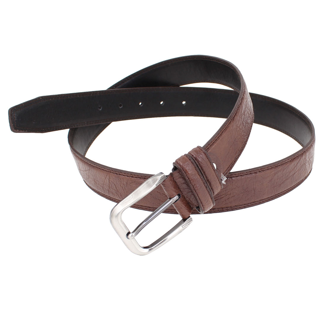 Brown Faux Leather 5 Holes One Pin Buckle Adjustable Waist Belt for Men