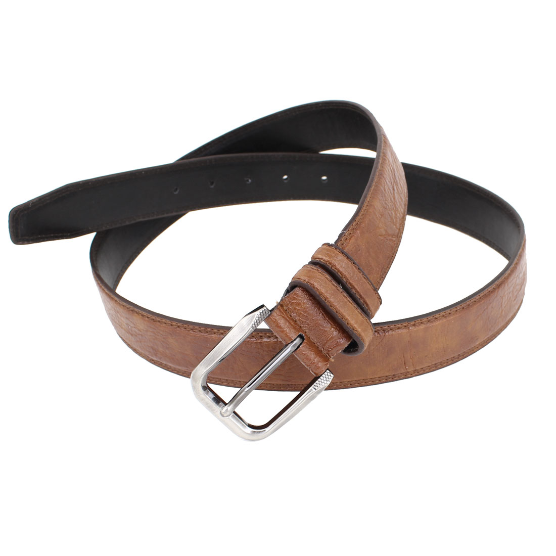 Brown Faux Leather Single Pin Buckle Adjustable Waist Belt for Men