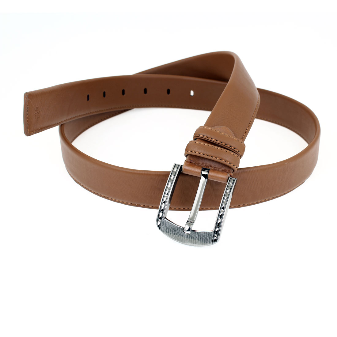 Faux Leather 6 Holes One Pin Buckle Adjustable Waist Belt Brown for Men