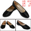 Ladies Pointed Toe PU Lining Snake Pattern Flats Black US 6.5