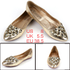 Ladies Non-skid Sole Rhinestone Decor Flat Shoes Light Gold Tone US 8