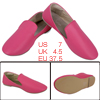 Ladies Round Toe Low Rubber Heel Smooth Insole Flats Fuchsia US 7