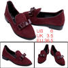 Ladies Pointed Toe Faux Suede Upper Piped Edge Flats Burgundy US 6