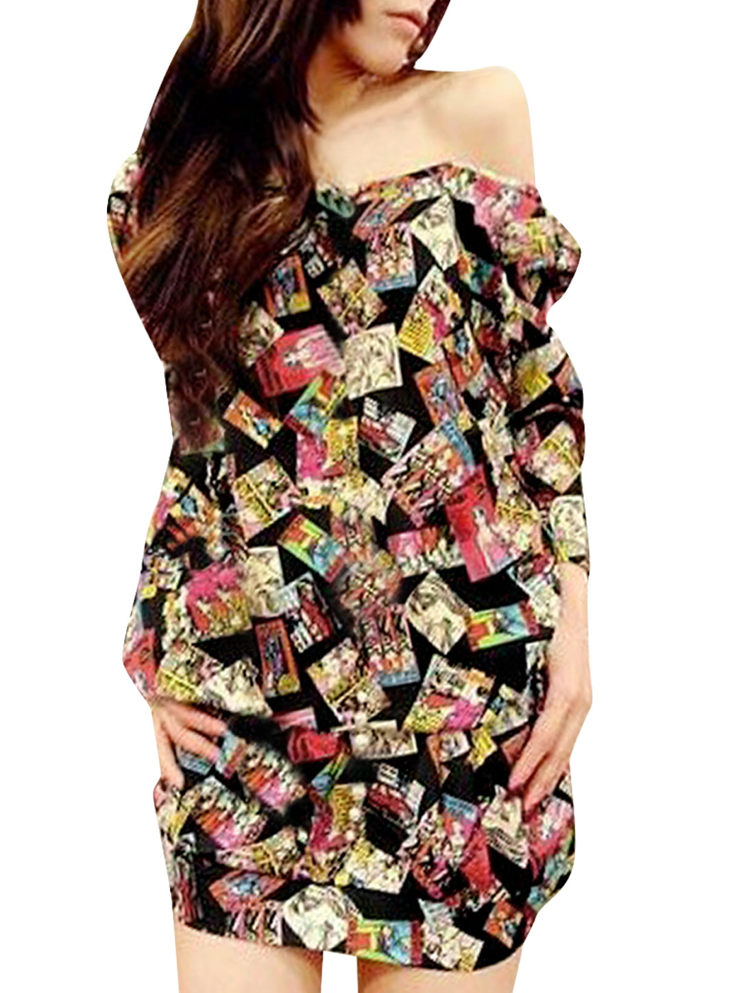 Lady Boat Neck Cartoon Prints Design Multicolor Tunic Mini Dress S