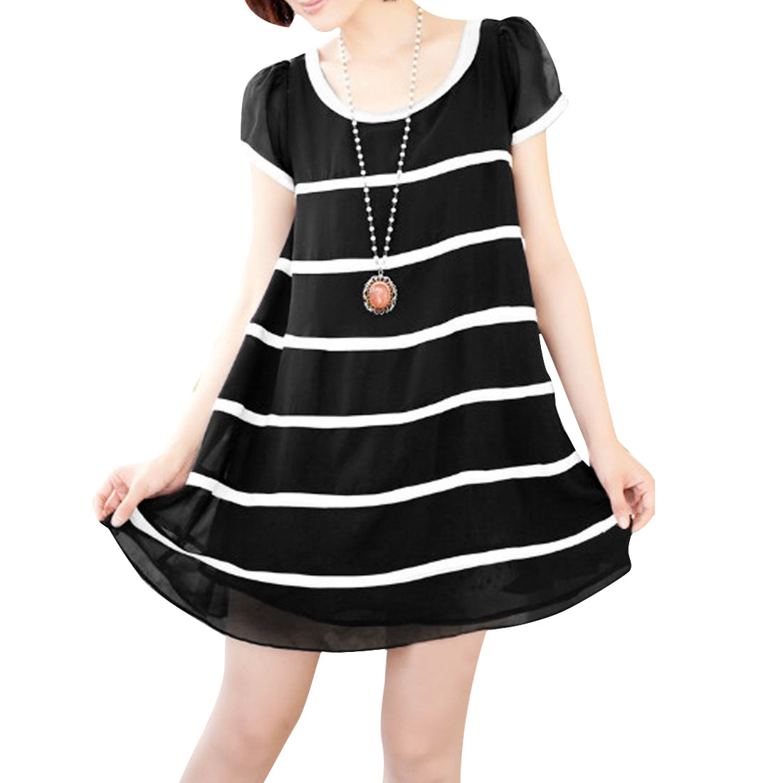 Lady Stylish Short Sleeve Stripes Pattern Black Chiffon Dress XS